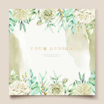 Dibujo a mano elegante invitación de boda diseño floral