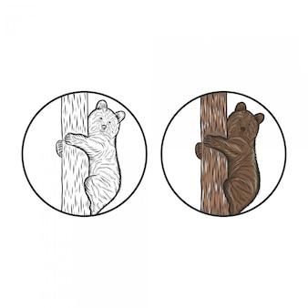 Dibujo de mano de escalada de oso grabado
