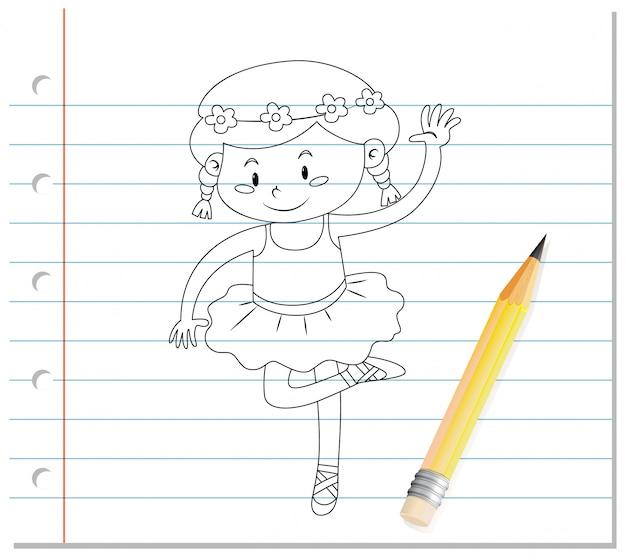 Dibujo a mano del esquema de dibujos animados de ballet