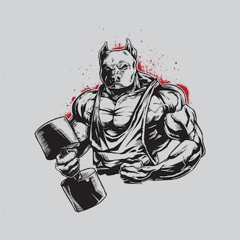 Dibujo a mano gym pitbull logo mascot