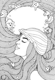 Dibujo a mano de una hermosa niña con pelo largo y animales marinos