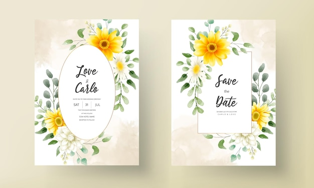 Dibujo a mano hermoso diseño floral de la tarjeta de boda
