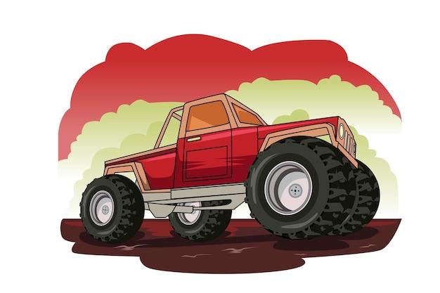 Dibujo a mano de ilustración de camión monstruo rojo