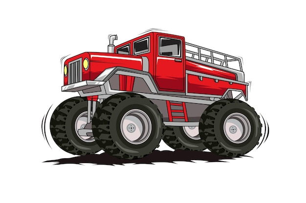 Dibujo a mano de ilustración de coche monstruo de camión grande rojo