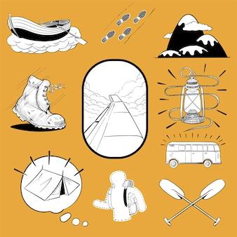 Dibujo a mano ilustración conjunto de iconos de pasión por los viajes