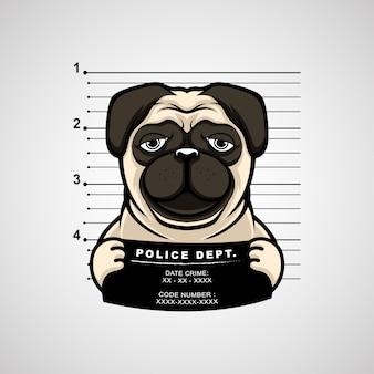 Dibujo a mano ilustración ficha policial de perro pug sosteniendo una pancarta. prima