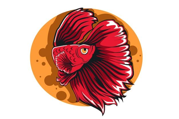 Dibujo a mano de ilustración de pez betta rojo