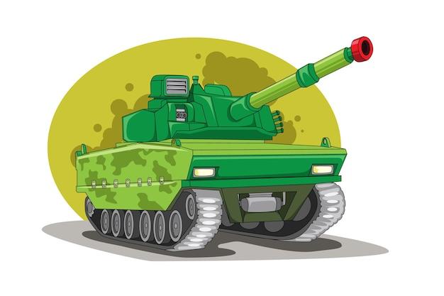 Dibujo a mano ilustración de vehículo tanque