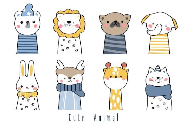 Dibujo a mano lindo dibujo de dibujos animados de saludo de familia de animales salvajes