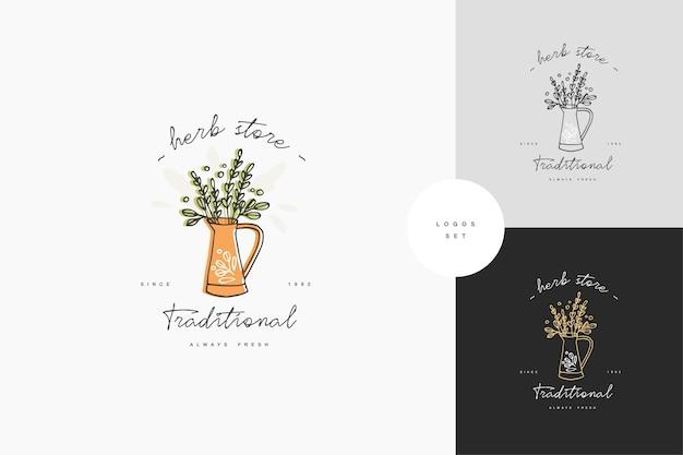 Dibujo a mano logo o insignia e icono para jardinería o tienda de flores. símbolo de colección de regadera con ramas verdes.