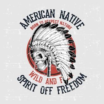 Dibujo de mano nativa americana de cráneo de estilo grunge