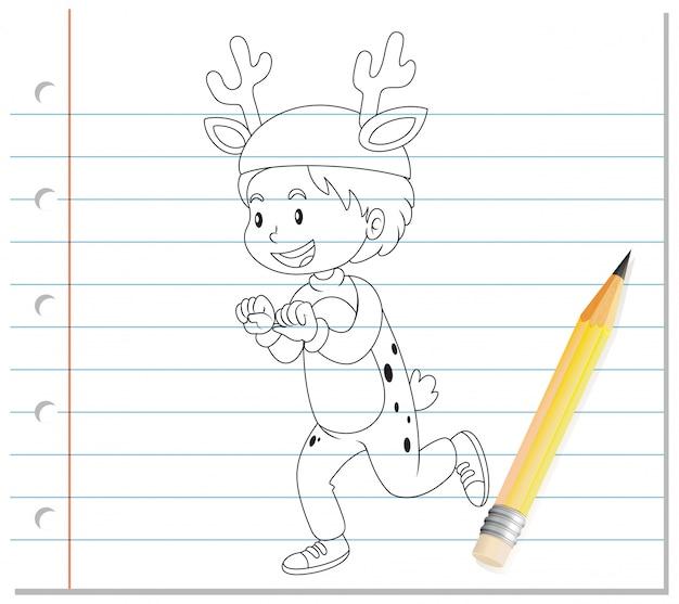 Dibujo a mano de niño en contorno de dibujos animados de traje de ciervo