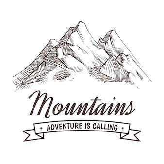Dibujo a mano pico de alta montaña y bosque v