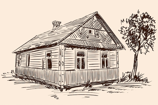 Dibujo a mano sobre un fondo beige. antigua casa de madera rústica y árbol cerca del edificio.