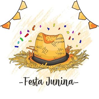 Dibujo a mano de un sombrero de paja para la junina festa