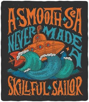 Dibujo a mano con submarino vintage