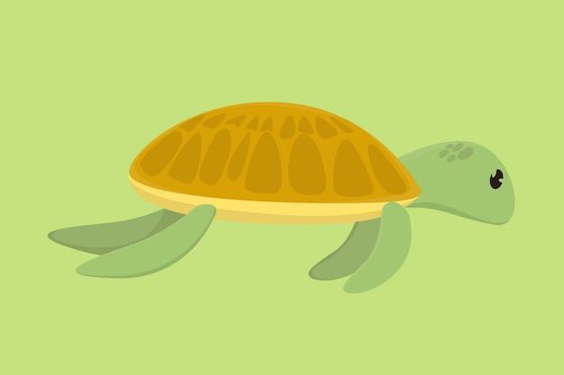 Dibujo a mano de tortuga divertida de dibujos animados