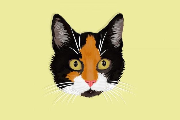 Dibujo a mano de tres gatos peludos de color