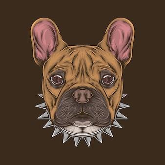 Dibujo a mano vintage bulldog francés cabeza ilustración