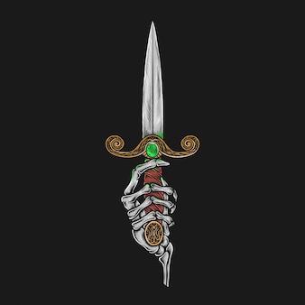 Dibujo a mano vintage esqueleto con ilustración de daga