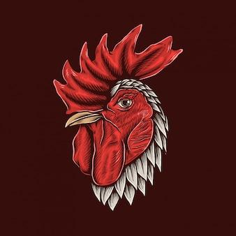 Dibujo a mano vintage gallo cabeza ilustración