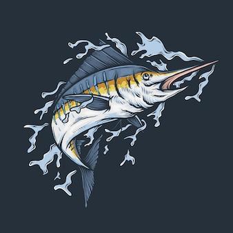 Dibujo a mano vintage pez marlin saltando ilustración vectorial