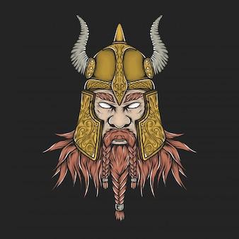 Dibujo a mano vintage vikingo cabeza ilustración vectorial