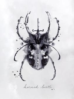 Dibujo de monotipo escarabajo avispa con blanco y negro sobre papel