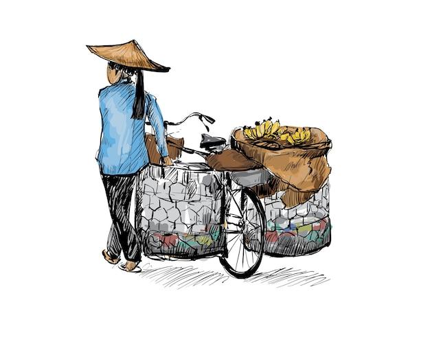 Dibujo de mujer caminando con una bicicleta en hanoi, vietnam