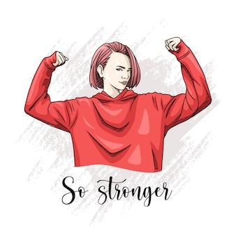 Dibujo de mujer fuerte a mano