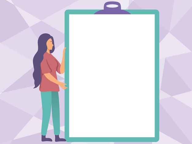 Dibujo de mujer sosteniendo un gran portapapeles vacío que muestra un nuevo significado jovencita agarrando un enorme espacio en blanco