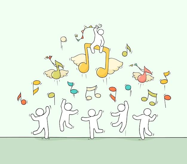 Dibujo de multitud de gente pequeña con ilustración de notas voladoras
