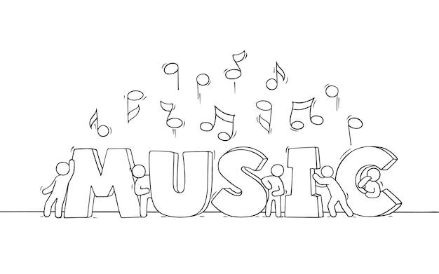 Dibujo de multitud de gente pequeña con notas voladoras. doodle linda escena en miniatura con música de palabras. dibujado a mano diseño musical de ilustración vectorial de dibujos animados.