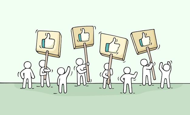Dibujo de multitud de gente pequeña con símbolos similares. doodle linda escena en miniatura de trabajadores con transparencias. ilustración de vector de dibujos animados dibujados a mano para diseño de negocios e internet.