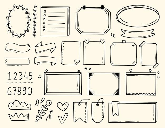 Dibujo de notas de icono de elemento de diario de bala lindo