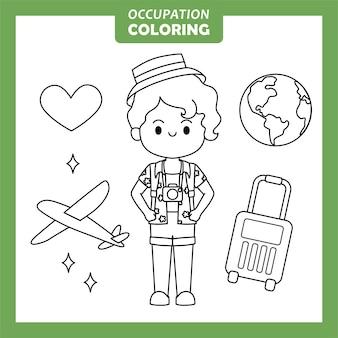 Dibujo de ocupación de trabajo de viajero para colorear