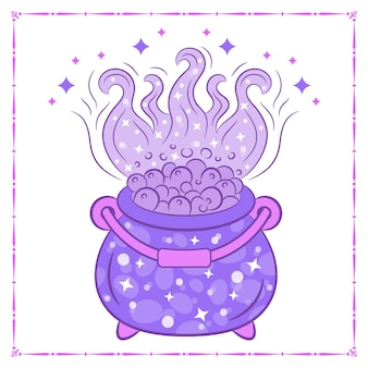 Dibujo de olla de cocina de brujería de halloween