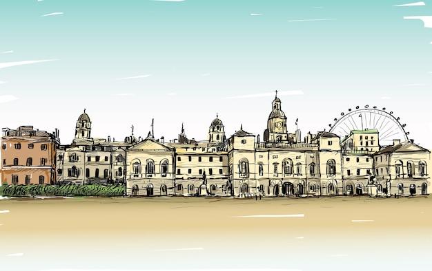 Dibujo de paisaje de la ciudad en londres, inglaterra, muestra el antiguo castillo y el carrusel, ilustración
