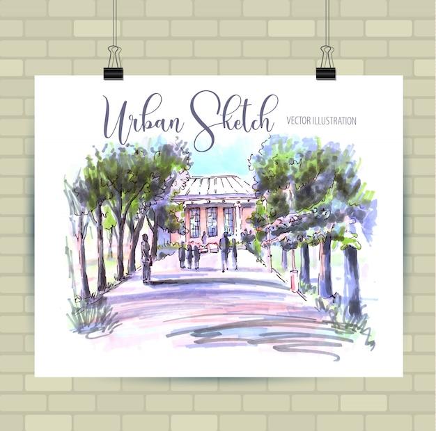 Dibujo de paisaje urbano dibujado a mano ilustración en blanco