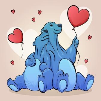 Dibujo con pareja de animales para el día de san valentín