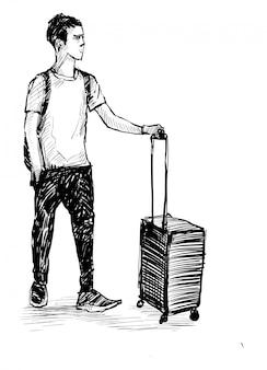 Dibujo del pasajero caminando en el aeropuerto. dibujar a mano.