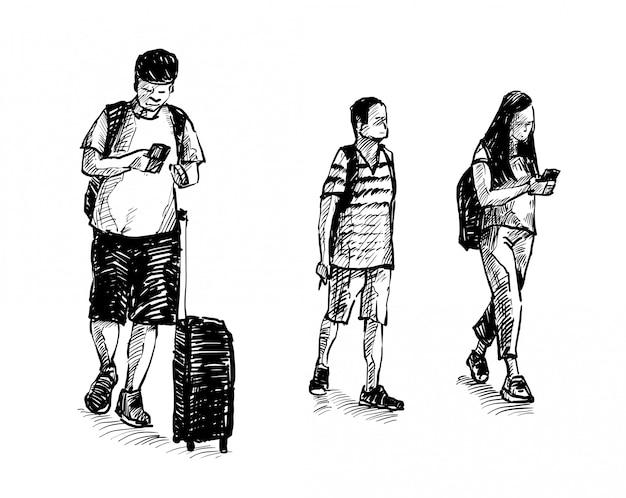 Dibujo de los pasajeros que ven caminando en el aeropuerto dibujar a mano