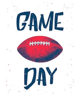 Dibujo de pelota de fútbol americano con tipografía.