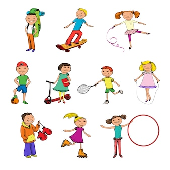 Dibujo de personajes infantiles coloreados.