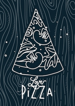 Dibujo de la pizza del amor del cartel que dibuja con las líneas grises en fondo azul