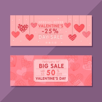 Dibujo de plantilla de banners de venta de día de san valentín
