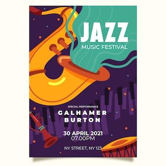 Dibujo de plantilla de póster del día internacional del jazz