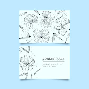 Dibujo realista de plantilla de tarjeta de visita floral
