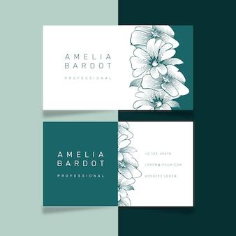 Dibujo realista de tema floral para plantilla de tarjeta de visita