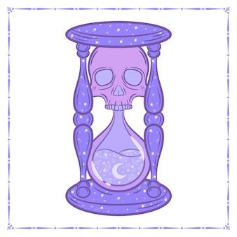 Dibujo de reloj de arena de brujería de halloween